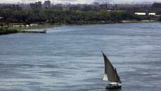 A boat sails at the river Nile in Cairo.