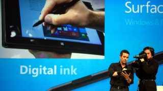 "Microsoft demonstrates the Digital Ink feature of ""Surface"", a new tablet computer running Windows 8 Pro at Hollywood's Milk Studios in Los Angeles."