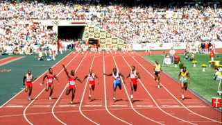 24 Sep 1988:  Ben Johnson (third from left) of Canada beats the rest of the field to win the 100 Metres Final and achieving a New World Record of 9.79 seconds at the 1988 Olympic Games in Seoul, South Korea. Johnson was late disqualified when he proved positive in a drugs test. \ Mandatory Credit: Bob  Martin/Allsport