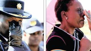 National police commissioner Riah Phiyega, left, dries her eyes during the funeral of policeman Sello Ronnie Lepaaku, who was killed by miners during the Lonmin mines strike near Rustenburg last week. While some were able to bury their dead, others were left in a state of anguish and uncertainty. An inconsolable Sebabatso Lekhutla and Ntebaleng Pitso, right, are unable to hold back their emotions at the Andrew Saffy Memorial Hospital in Rustenburg yesterday, after being told to return to the hospital today as their brothers name was not yet on the list of missing mineworkers.