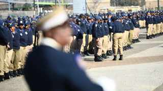New members of the Metro Police department gathered at Freedom Square in Kliptown where they werer briefed by the Mayor of Johannesburg Parks Tau.  Picture: Mujahid Safodien 24 07 2012