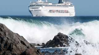 10 december 2012 The MSC Sinfonia sits off sea point today unable to dock due to high winds in the city.