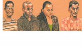 Harvey Isha, Robin Harwood, Courtney Daniels and Lindon Wagner appeared in the Palm Ridge Magistrates Court for the murder of Kirsty Theologo. Illustration: Sibusiso Dubazana