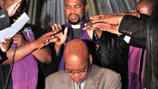 President Jacob President Zuma receives blessings from the leadership of the Evangelical Presbyterian Church during the church service  in Giyani,Limpopo.06/10/2013.Sibongile Ngalwa.GCIS photo Studio