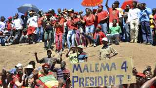 Supporters of the Economic Freedom Fighters chant slogans during the official launch of the political party in Marikana. File photo: Mujahid Safodien