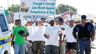Cape Town. 150214. A small group of members of the public in Athlone and surrounding areas held a march againts inefficient, corrupt and colluding policing in the Western Cape. Picture Leon Lestrade. Story Kowthar Solomons