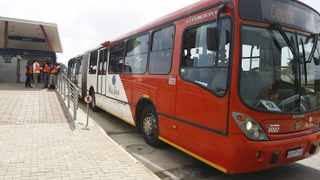 A Rea Vaya bus is seen at the Orlando bus stop in Soweto, Johannesburg. File photo: Leon Nicholas