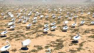 HI-TEC: The MeerKAT radio telescope being built in the Northern Cape will form part of the first phase of the Square Kilometre Array project. This computer-generated image gives an idea of what the SKA project will look like on the ground. Source: SKA PROJECT