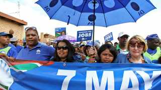 367 21.04.2014 DA leader Helen Zille, parliamentary member Lindiwe Mazibuko and Provincial candidate Patricia Kopane in a Rally at Seeisoville stadium in Kroonstad, to campaign for the votes at the area. Picture: Motshwari Mofokeng