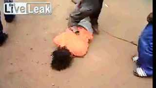 Footage of this person being beaten, which appears to have been caught on a cellphone, has gone viral.