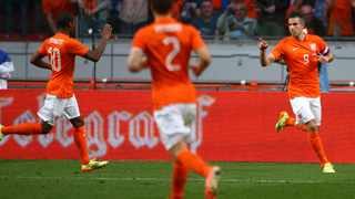 AMSTERDAM, NETHERLANDS - MAY 17: Robin van Persie of Holland celebrates after scoring the teams only goal of the game during the International Friendly match between The Netherlands and Ecuador at The Amsterdam Arena on May 17, 2014 in Amsterdam, Netherlands. (Photo by Charlie Crowhurst/Getty Images)