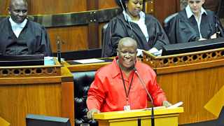 Cape Town - 140618 - Pictured is the EFF's Julius Malema. The State of the Nation Debate started today and will continue tomorrow as parties debate the address the President made the evening before. Picture: David Ritchie (083 652 4951)