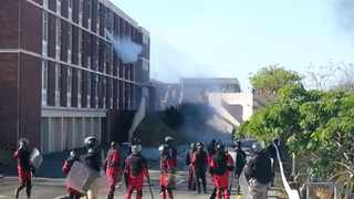 The situation at UKZNs Westville campus again erupted into violence on Thursday. Two students and a policeman were injured.   Picture: SACAN/Andreas Mathios