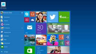 The start menu in Windows 10. The new operating system was launched to generally favourable reviews. Picture: Microsoft, via AP