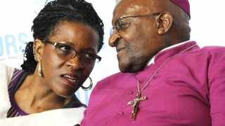 140809-Archbishop Desmond Tutu speaks to her daughter Mpho before  addressing a group  of woman that marched from Cathedral church to Artscape to celebrate the women's day . CW