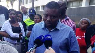 Addressing the media outside court, former paramedic, Sifiso Dlamini, called on the health department to address their grievances. Photo: Noelene Barbeau