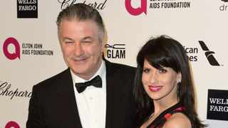 Alec Baldwin and his wife Hilaria Thomas at the 2015 Elton John AIDS Foundation Oscar Party in West Hollywood, California on February 22, 2015.