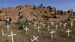 Crosses were placed on the hill near Marikana in memory of the miners who died during the violence. File picture: Reuters