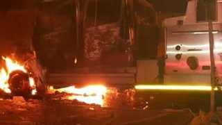 Protest action, a  Fire Truck was set alight set last night at Mzimhlope Soweto. Pic Twitter