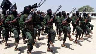 Newly trained al-Shabaab fighters perform military exercises. File picture: Farah Abdi Warsameh/AP