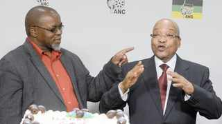 ANC president Jacob Zuma shares a joke with party secretary-general Gwede Mantashe.The writer claims many people join the ruling party not because of ideological belief but to have material advantage. File picture: Paballo Thekiso