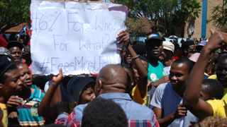 Students at the University of Limpopo's campus in Mankweng, outside Polokwane, protest against increases in tuition fees. Picture: ANA