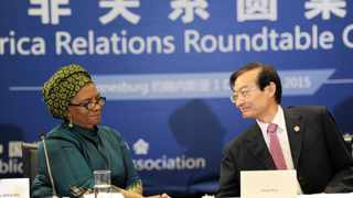 Deputy Foreign Minister of South Africa Nomaindiya Mfeketo acknowledges the Chinese Deputy Foreign Minister Zhang Ming after his speech during the first China-Africa Relations Roundtable Conference at the Maslow Hotel in Sandton preceeding FOCAC. 011215. Picture: Chris Collingridge 202