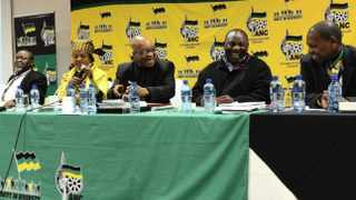 Five of the ANC's top six members - secretary-general Gwede Mantashe, ANC president Jacob Zuma, ANC deputy president Cyril Ramaphosa, and treasurer-general Zweli Mkhize.   Picture: Masi Losi