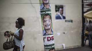 Electoral posters of incumbent Congolese President Denis Sassou-Nguesso are seen at a busy intersection in Brazzaville on March 16, 2016 ahead of March 20 polls. Picture: Marco Longari/ AFP