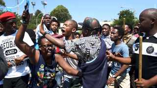 682 04/04/16 Scuffle broke out between protesting students who feel they are being sidelined by the #FeesMustFall movement. Picture:Nokuthula Mbatha
