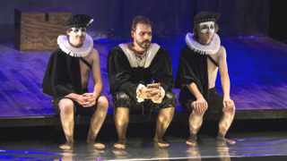Marcel Meyer as the Prince of Denmark,  and Jeremy Richard and Mathew Baldwin as Rosencrantz and Guildenstern in The Tragedy of Hamlet at the Rhodes Theatre, Grahamstown, 06 July 2015, at the 2015 National Arts Festival. Abrahamse & Meyer Productions brings this new rendition of the tragedy as performed by the crew aboard The Red Dragon off the East Coast of South Africa, one of the earliest recorded performances of Hamlet, in 1608. Photo: CuePix / Jane Berg.