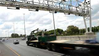 Damaged and missing cameras at the N12 gantry  near Boksburg, Johannesburg  17-12-2013  Dumisani Dube
