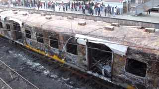 Fee bearing picture : Picture Credit :Solly Lottering. 4 coaches were torched in the early hours of today leaving hundreds of commuters without transport.