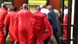 EFF members are forcibly ejected from the  National Assembly. Picture: ANA