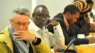 Steven Faulkner(L) , former Cosatu general secretary Zwelinzima Vavi, with other members at a strategic meeting against officials at the SABC at the Civicus house in Newtown, Johannesburg. 849 13.07.2016 Picture: Itumeleng English