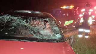 In an incident in KwaZulu-Natal two weeks ago, a rock was thrown onto an Audi, and this picture illustrates the damage caused. Picture: Supplied