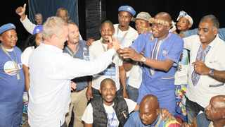 The DA's Francois Rodgers celebrates with DA KZN leader Zwakele Mncwango when he was elected at the party's provincial congress. Picture: ANA Archives