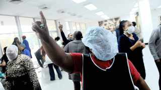 Healthcare workers at Charlotte Maxeke Academic Hospital in Joburg shut down the institution last month demanding to be paid overtime and performance bonuses going back to 2016. Picture: Nokuthula Mbatha/African News Agency (ANA)
