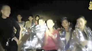 An image taken from video provided by the Thai Navy Seal shows the Thai boys inside the cave in Mae Sai, northern Thailand. Picture: Thai Navy Seal via AP