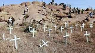 Crosses were placed on the koppie at Marikana in memory of the 34 miners who died at the hands of the police on August 16, 2012.
