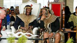 Mangosuthu Buthelezi laughs with King Goodwill Zwelithini at his 90th birthday party in Ulundi where thousands came to celebrate. Picture: Sibonelo Ngcobo/African News Agency (ANA)