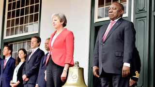 British Prime Minister Theresa May presents South Africa's President Cyril Ramaphosa with the SS Mendi Bell that was found in the English Channel a year ago. Picture: Jairus Mmutle/GCIS