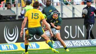 Cheslin Kolbe in action for South Africa against Australia during the 2018 Rugby Championship at Nelson Mandela Bay Stadium - September 2018. Photo: Deryck Foster/BackpagePix