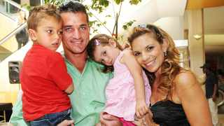 A FILE picture of Joost van der Westhuizen and his wife Amor with their children Jordan, now 13, and Kylie, now 11. The Gauteng High Court, Pretoria, has ruled that they are the sole beneficiaries in Joost's will and that Amor will receive only a television set.      African News Agency (ANA) Archives