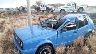The driver of a blue Golf sustained minor injuries after his car apparently veered off the road and collided with a concrete pole on the R64 to Boshoff.