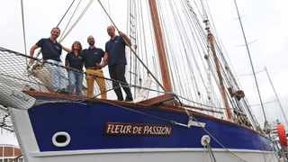 Sebastien Schwarz, first mate, Amelie Cencig, second mate, Victor Melero, crew, and Pietro Godenzi, captain, on board the Fleur de Passion. Photo: Courtney Africa / African News Agency (ANA)
