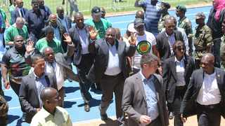 PRESIDENT Cyril Ramaphosa and KZN acting premier Sihle Zikalala greet people at the official unveiling of the Harry Gwala Sports Facility yesterday as part of the ANC's celebration of its 107th anniversary and build-up to its manifesto launch.      Motshwari Mofokeng African News Agency (ANA)