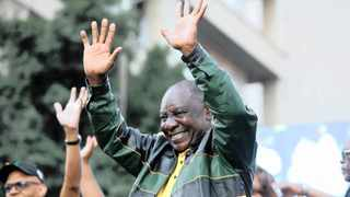 PRESIDENT Cyril Ramaphosa at the ANC-hosted Rea leboga gathering to express gratitude to all South Africans for participating in the elections and the party's triumph, outside their Joburg headquarters, Luthuli House.     Nhlanhla Phillips African News Agency (ANA)