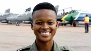 MAJOR Mandisa Nomcebo Mfeka, the first black woman combat fighter pilot in South Africa.     GCIS
