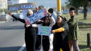 Saartjie Baartman Centre staffers hold a silent protest outside their premises in Athlone to stand against child abuse. Picture: Ayanda Ndamane/African News Agency (ANA)